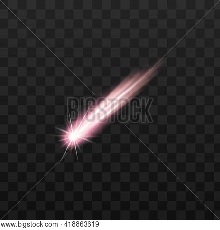 Colorful Space Meteors And Comets, Asteroids, Shooting Stars With Light Sparkles