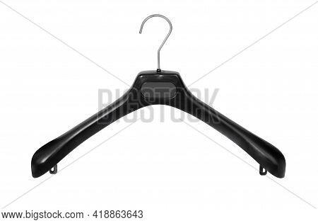 Coat Hanger Isolated Over White Background. Plastic Coat Hanger