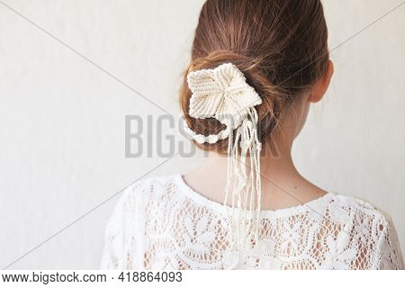 Classic, Simple And Elegant Hairstyle With Stylish Hair Accessory, Rear View. Little Girl Back Hairs