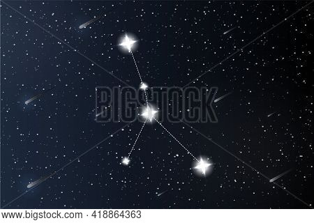 Cancer. Zodiac Constellation On Outer Space Background. Mystery And Esoteric. Horoscope Vector Illus