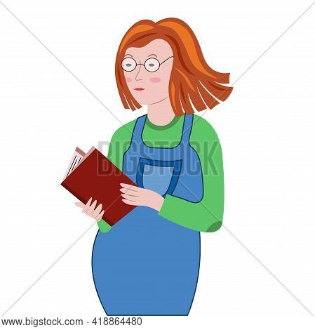Pregnant Woman Read Baby Book. Redhead Pregnant Girl In Denim Overalls And Glasses. Vector Cartoon I