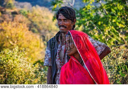 Ranakpur, India - Jan 02, 2020: Portrait Of Indian Farmer Couple In Ranakpur, India