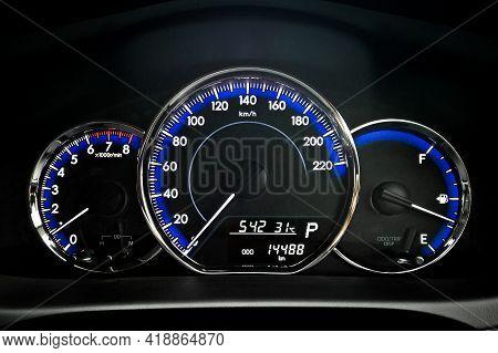 Car Dashboard, Engine Gauge, Speedmeter And Fuel Gauge