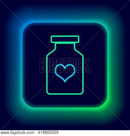 Glowing Neon Line Medicine Bottle With Pills For Potency, Aphrodisiac Icon Isolated On Black Backgro