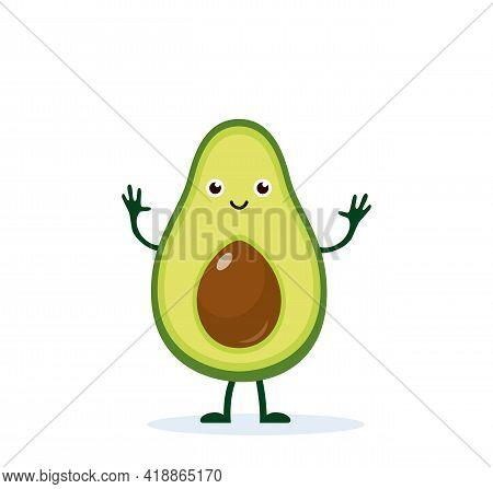 Avocado Character. Cute Happy Avocado For Your Design. Beautiful Cartoon Avocado Isolated On White B