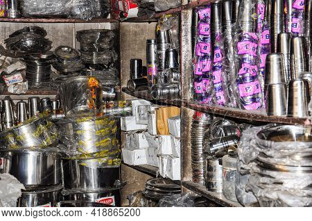 Jaipur, India - Jan 05, 2020: Indian Shop At The Market Near Amber Fort In Jaipur, India.