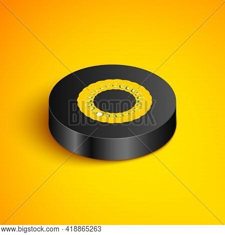 Isometric Line Laurel Wreath Icon Isolated On Yellow Background. Triumph Symbol. Black Circle Button