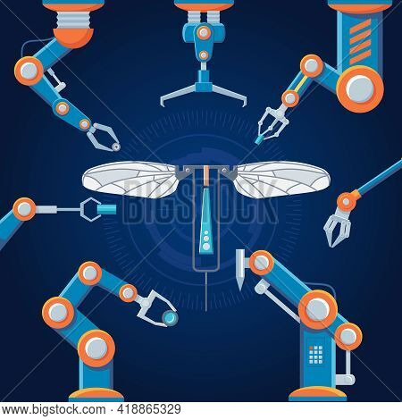Engineering Manufacturing Robot Set With Mechanical Automatic Arms Assembly Futuristic Construction