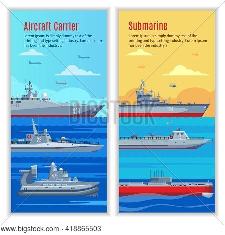 Military Ships Vertical Banners With Combat Naval Boats Of Different Types And Construction Vector I