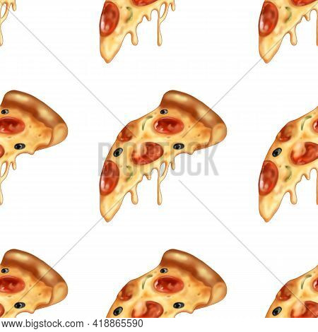 Appetizing Pizza Bright Pattern. Fast Food Illustration.