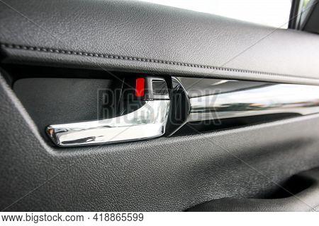 Door Handle And Door Lock Inside The Car