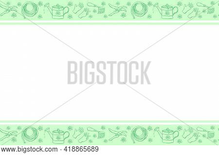 Vector Hand Drawn Border, Frame Of Outline Flowers And Garden Equipments. Horizontal Top And Bottom