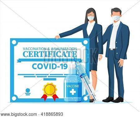 People Behind Covid-19 Vaccination Passport. Vaccinated Health Document As Proof Person Is Immune To