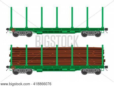 Train Railway Car For Transportation Raw Wood. Rail Flatcar Full Of Wooden Trunks. Freight Boxcar Wa