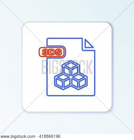 Line 3ds File Document. Download 3ds Button Icon Isolated On White Background. 3ds File Symbol. Colo