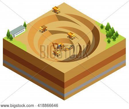 Isometric Mining Industry Concept With Dump Trucks Excavator Bulldozer Working In Quarry For Diamond