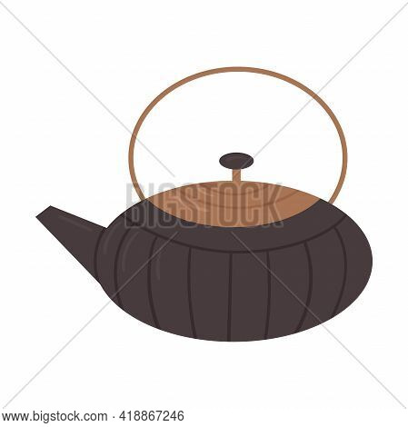 Traditional Japanese Teapot For The Tea Ceremony. Japanese Utensils For Matcha Tea. Flat Cartoon Vec