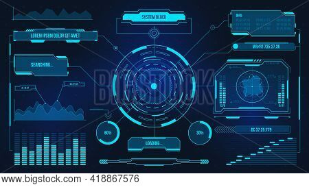 Digital User Interface. Futuristic Technology Ui Screen. Game Car Or Spaceship Dashboard. Analysis O