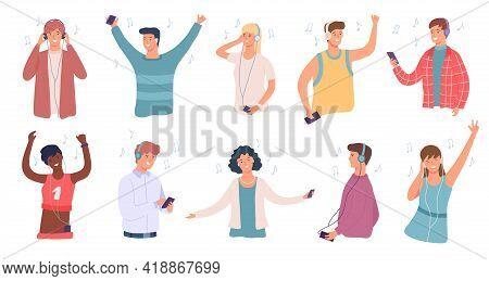 People Listen Music. Happy Man And Woman In Headphone Dancing. Student Enjoying Songs On Phone. Teen