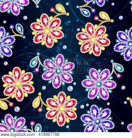 Cartoon Colorful Glossy Brooches Seamless Pattern With Nice Beautiful Gems And Jewels On Light Starr