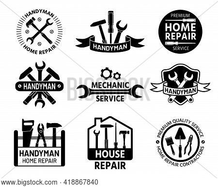 Handyman Logo. Mechanic And Home Repair Service Logos With Construction And Handy Tools, Wrench And