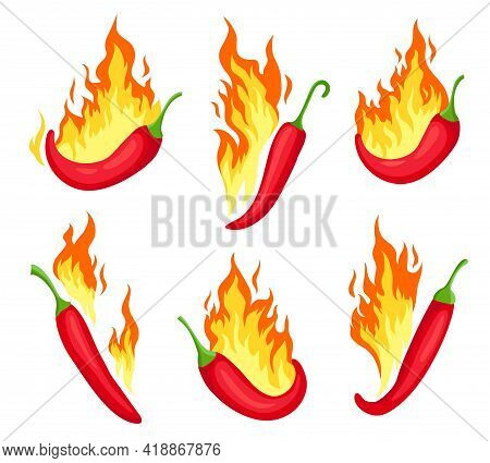 Chili On Fire. Cartoon Hot Red Peppers With Flames. Food Icon, Emblem For Mexican Sauce Or Restauran