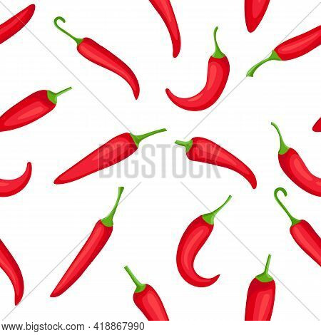 Chili Pepper Seamless Pattern. Cartoon Hot Red Peppers, Texture For Fire Sauces And Mexican Food. Co