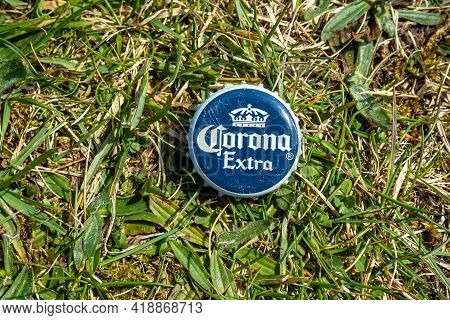 Donegal, Ireland - April 28 2021 : Corona Crown Cap Lying In The Grass