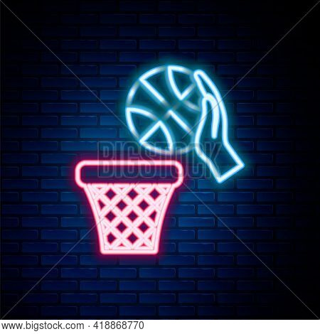 Glowing Neon Line Basketball Ball And Basket Icon Isolated On Brick Wall Background. Ball In Basketb