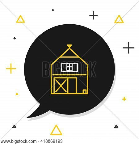 Line Farm House Concept Icon Isolated On White Background. Rustic Farm Landscape. Colorful Outline C