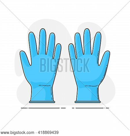 Medical Sterile Nitrile Blue Gloves In Flat Style With Outline. Vector Template Of Personal Protecti