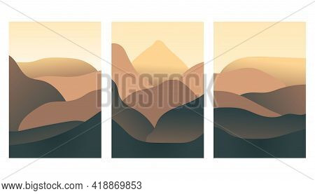 Minimalist Landscape Design Flat Scenery Postcards. Abstract Mountains Landscape. Geometric Landscap