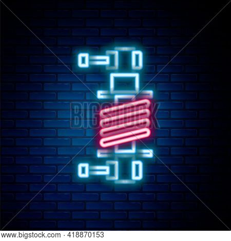 Glowing Neon Line Shock Absorber Icon Isolated On Brick Wall Background. Colorful Outline Concept. V