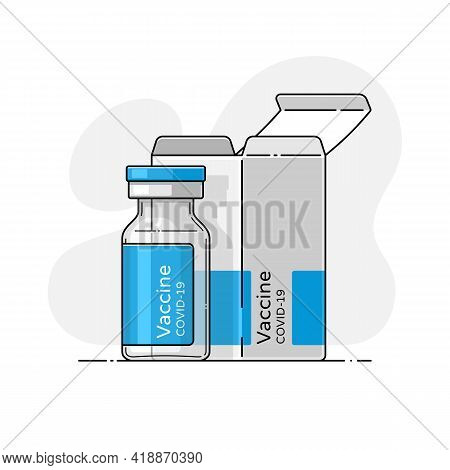 Closeup Of Covid Medical Vaccine. Coronavirus Epidemic Protection. Isolated Vector Illustration With
