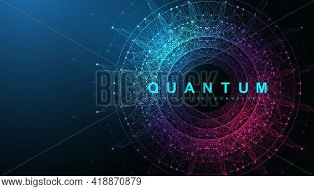 Quantum Computer Innovation Technology Concept. Sphere Explosion Background. Deep Learning Artificia