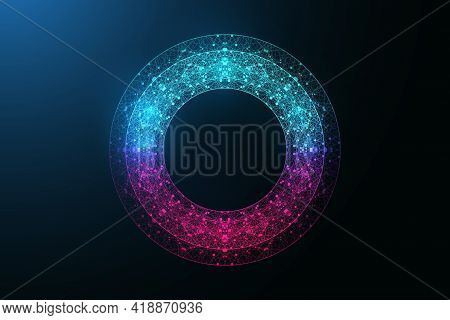 Digital Neon Color Circle With Connecting Dots And Lines In Abstract Style. Futuristic Digital Neon