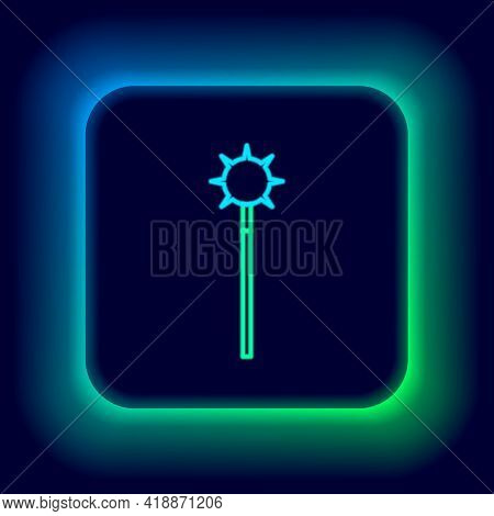 Glowing Neon Line Medieval Chained Mace Ball Icon Isolated On Black Background. Medieval Weapon. Col