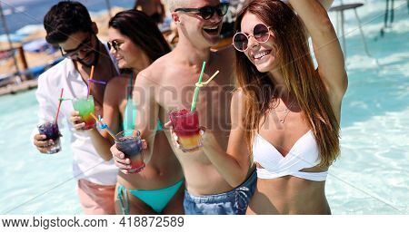 Friends Beach Party Drinks Celebration Summer Vacation Concept