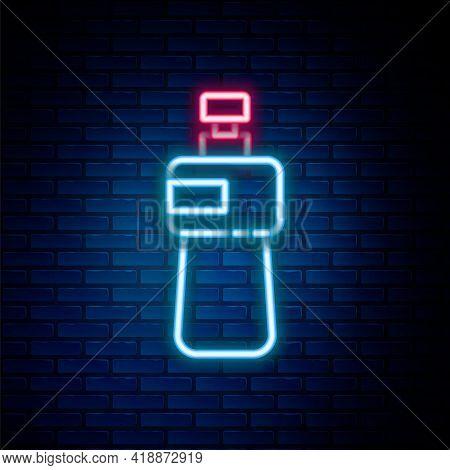Glowing Neon Line Dishwashing Liquid Bottle Icon Isolated On Brick Wall Background. Liquid Detergent