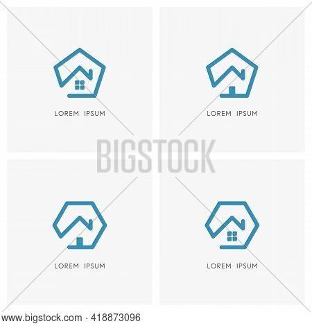 Home Outline Logo Set. House With Window, Front Door And Chimney On The Roof With Pentagon And Hexag