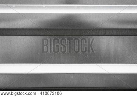 Realistic Metal Texture. Polished Background Made Of Galvanized Steel. Sheet Of Profile Rolled Metal