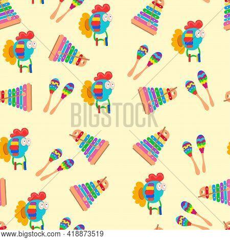 Seamless Pattern Childrens Musical Toys. Beanbag, Piano, Xylophone. Bright Cartoon Children Instrume