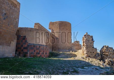 Remains Of Massive Fortification Wall Of Medieval City Ani, Near Kars, Turkey. Some Parts Are Restor