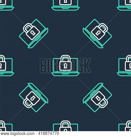 Line Laptop And Lock Icon Isolated Seamless Pattern On Black Background. Computer And Padlock. Secur