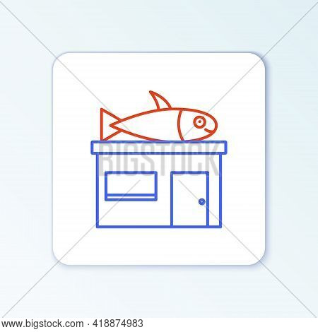Line Seafood Store Icon Isolated On White Background. Facade Of Seafood Market. Colorful Outline Con