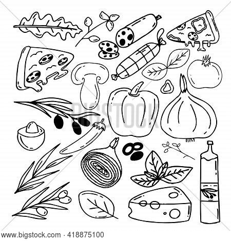 Vector Set Of Elements For Pizza Pigmentation In The Style Of Doodle For Feeding Bannets. Pizza Elem