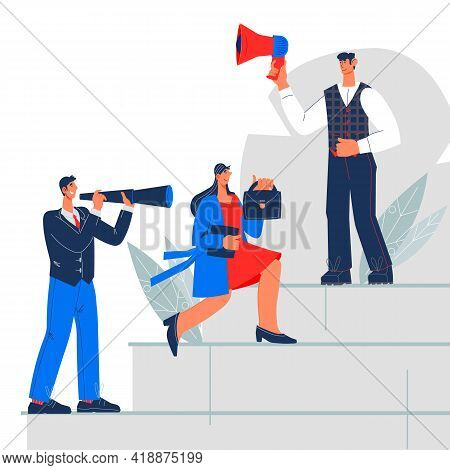 Business People Aiming Up Career Ladder, Flat Vector Illustration Isolated On White Backdrop. Opport