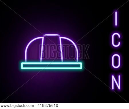 Glowing Neon Line Worker Safety Helmet Icon Isolated On Black Background. Insurance Concept. Securit