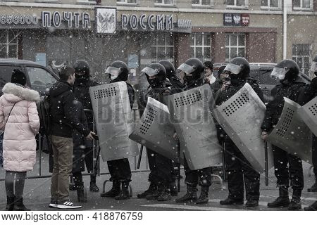 Barnaul, Russia-april 21, 2021. Crackdown On Demonstrations In Support Of Opposition Politician Alex