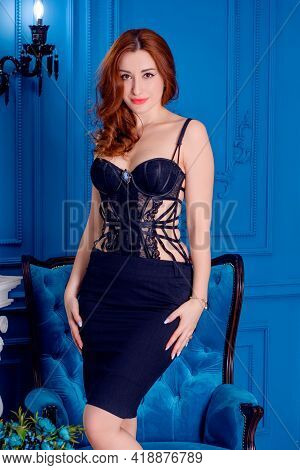 Gorgeous And Sexy Beautiful Fashion Model On Old Lux Guest Room In Blue Tones. Beautiful Woman In Vi